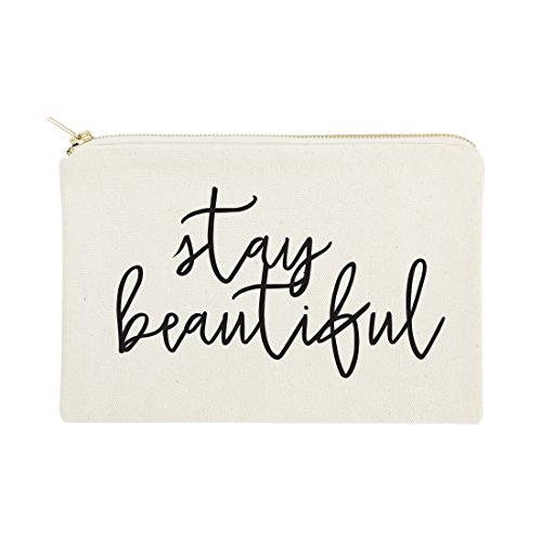 The Cotton & Canvas Co.Stay BeautifulCosmetic Bag and Travel Make Up Pouch by The Cotton & Canvas Co.