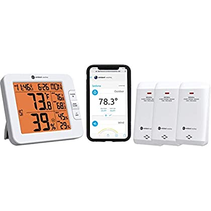 Image of Home and Kitchen Ambient Weather WS-8482-X3 Wireless 7-Channel Internet Remote Monitoring Weather Station with Three Indoor/Outdoor Temperature & Humidity Sensors, Compatible with Alexa