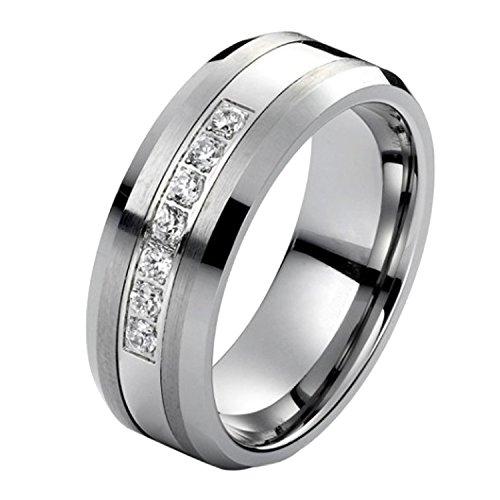 Tungsten Carbide Diamond Men's Wedding Band .20CTW (H-I I2),size 12 by AX Jewelry (Image #1)