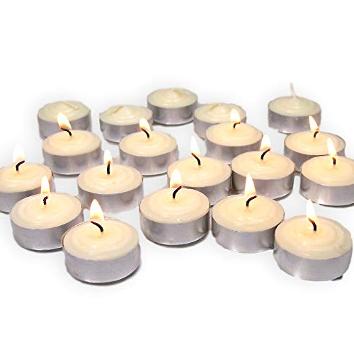 BANBERRY DESIGNS Bulk 100 Pack Tealight Wax Candles White - Wedding Centerpiece Decorations - Smokeless Genuine Vegetable Palm Oil Unscented