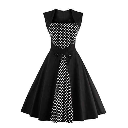 DISSA EU Schwarz Vintage M1336 S Damen Kleid Rockabilly 36 50er Retro Cocktail 1CO1wq7