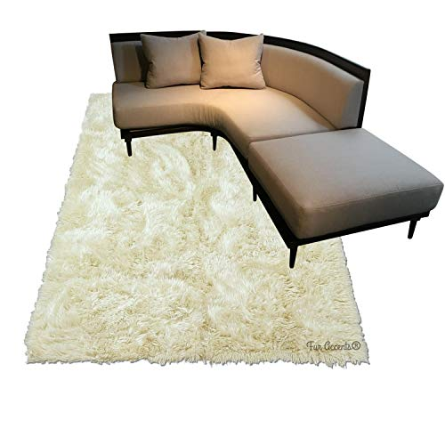 Shag Carpet - Extraordinary Faux Fur Rug - Accent - Area Rug - Throw Rug and Design - Hand Made in The USA (6'x6', Beige)