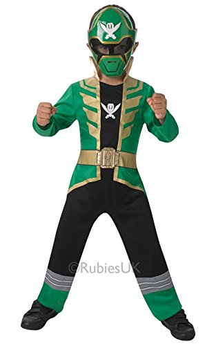 Green Super Mega Force Power Ranger Costume Party Fancy Dress Jumpsuit Mask Boys Large: Age 7-8 years (Mega Fancy Dress Costumes)