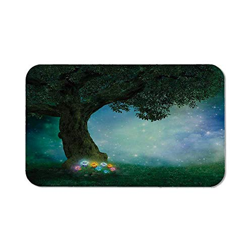 Forest Decor Non Slip Mouse Pad,Fairytale Little Red Riding Hood Forest at Night with Flowers and Stars Image for Laptop Computer & PC,11.81''Wx27.56''Lx0.08''H