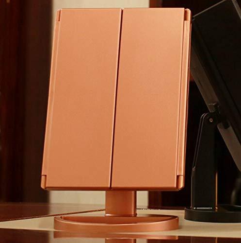Wanrane Happy Deocation - Espejo retrovisor de sobremesa con 21 Luces LED, Color Oro Rosa