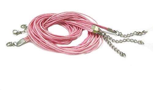 Linpeng 3 Piece Strand Waxed Cord Necklace, Two Tone Pink