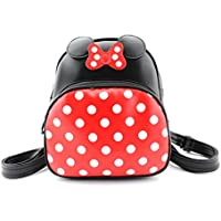 Finex Minnie Mouse style Medium Backpack - Multifunction Travel backpack with Long Shoulder Strap (Red/Black)