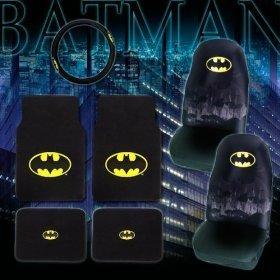 Batman Floor Mat , Seat Cover, Steering Wheel 7 pcs Combo Set