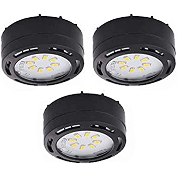 120V LED Puck Lights 3 Pack Kit Warm White Dimable (Black, 3K)