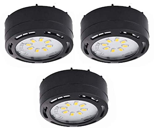 120V LED Puck Lights 3 Pack Kit Warm White Dimable (Black, 3K)