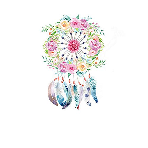 - ESH7 1Pcs Beautiful Garland Feathers Dreamcatcher Iron on Patch T-Shirt Sweater Thermal Transfer Paper Patches for Clothing