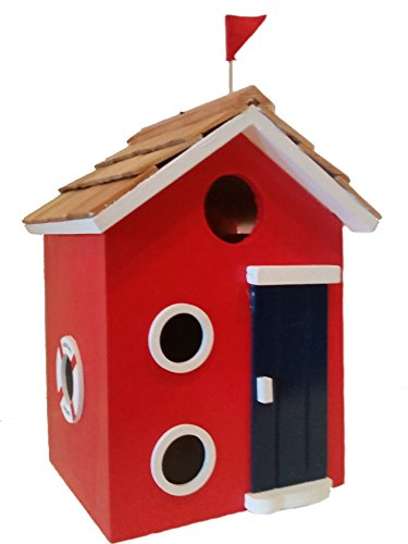 Beach Cottage Birdhouse is a Wood Birdhouse in Bright Red with a Pine Wood Shingled Roof, White Accents, Brilliant Blue Door