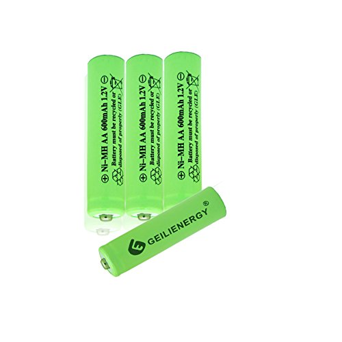 600mAh 1.2V Rechargeable Batteries for Solar Lights, Garden Lights, Remotes, Mice(Pack of 4) ()