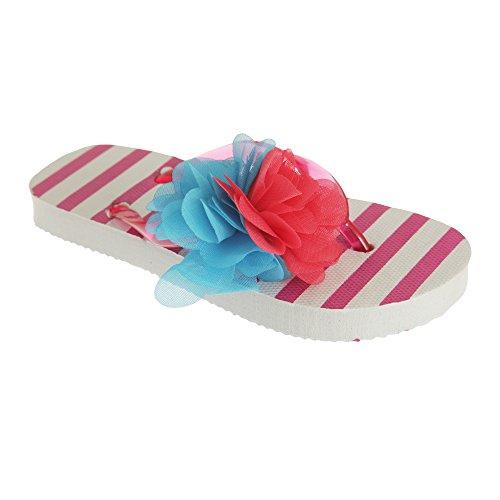Universal Textiles Childrens Girls Striped Flip-Flops with 3D Flower Detail