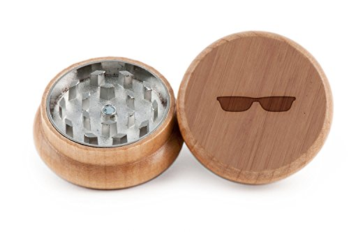 Sunglasses Herb and Spice Grinder - 2 Piece Wood Grinder with Laser Etched Designs - Made with Oak (2 - Sunglasses Etched