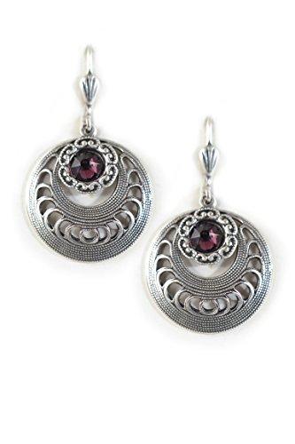 Clara Beau Deco Flower Medium Round Swarovski crystal dangle earrings EW19 Silver-Tone - Purple ()