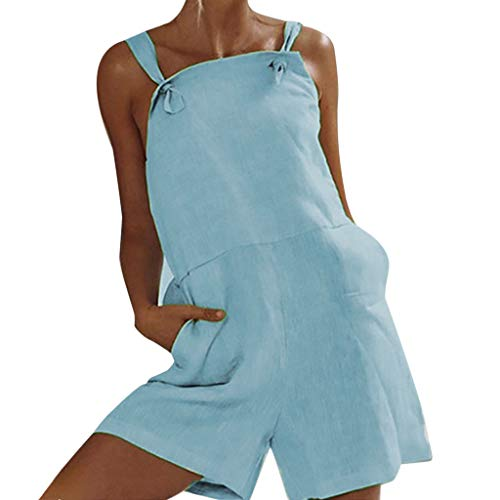(kemilove Women Rompers Soild Bib Shortalls Jumpsuit Overall Shorts with Pocket Blue)