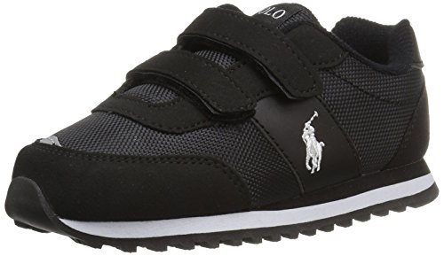 Polo Ralph Lauren Kids Boys' Zaton EZ Sneaker, Black Microsuede, 2 Medium US Little Kid