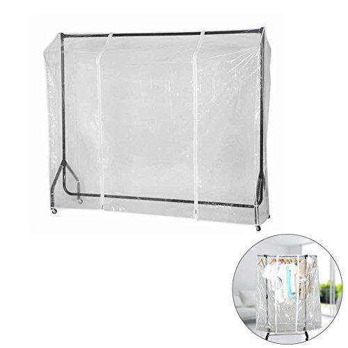 (Exttlliy Transparent Clothes Garment Rack Waterproof Dustproof Cover Indoor Outdoor Floor Coat Hanger Protector with Zipper (70.87 Inch))