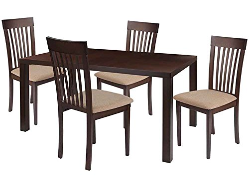 Flash Furniture Eastchester 5 Piece Espresso Wood Dining Table Set with Rail Back Wood Dining Chairs - Padded Seats - Beechwood Fan Back Chair