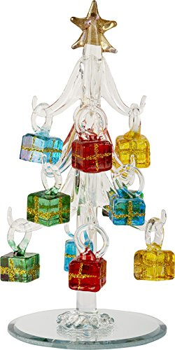 LSArts Glass Christmas Tree with Ornaments, Clear, 6 Inch, Gift Box