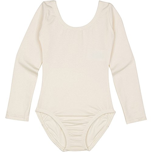 Toddler and Girls Leotard for Dance, Gymnastics and Ballet with Long Sleeve Lined Ivory Cream I (6-7) -
