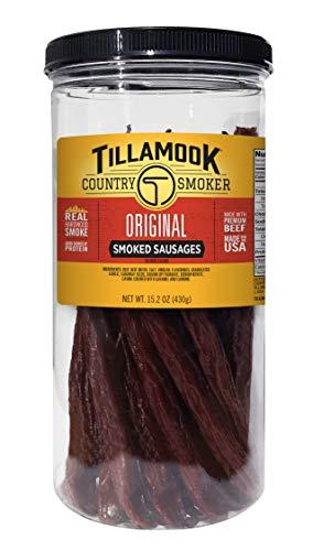 Tillamook Country Smoker Real Hardwood Smoked Beef Sticks Resealable Tall Jar, 20 Count, 15.2 oz.