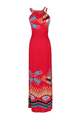 2LUV Women's Sleeveless Exotic Maxi Beach Dress Red XXL (#3101)