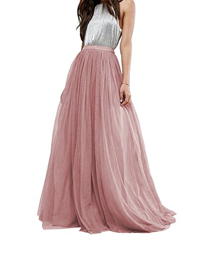 Women Wedding Long Tulle Skirt Dress Bridal Bridesmaids Floor Length High Waisted Maxi Tutu Party Dress (Mauve, Plus Size)]()