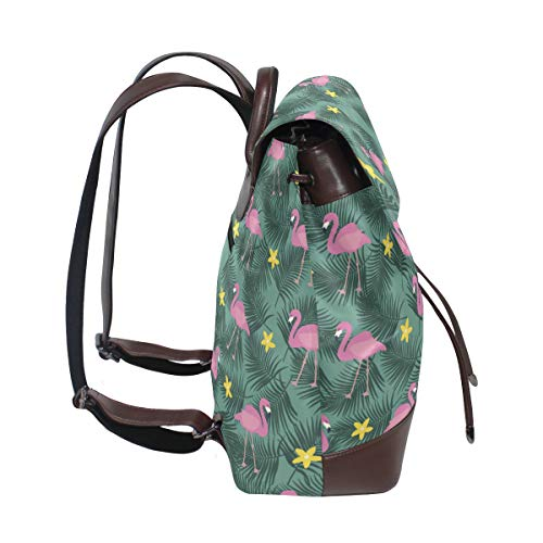 Kvinnor PU-läder flamingo flamenco sommarmönster ryggsäck handväska resa skola axelväska ledig dagväska