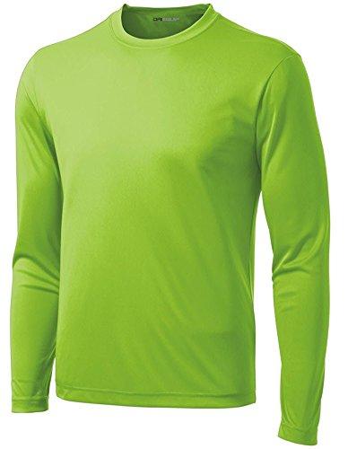 DRI-Equip Long Sleeve Moisture Wicking Athletic Shirt-Large-Lime Shock