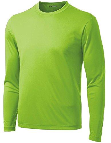 DRI-Equip Long Sleeve Moisture Wicking Athletic Shirt-2X-Large-Lime Shock