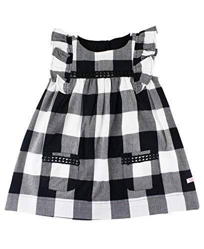 RuffleButts Baby/Toddler Girls Black and White Plaid Jumper Dress - ()