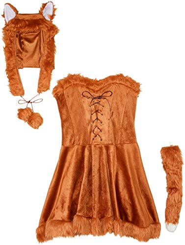 Fun World Women's Foxy Lady Costume, Brown, -