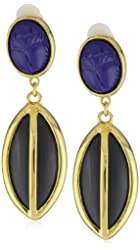 KARA by Kara Ross Gold with Ebony Resin and Lapis Scarab with Resin Drop Earrings