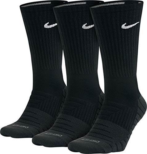 Unisex Nike Everyday Max Cushion Crew Training Sock (3 Pair) (Black, Large)