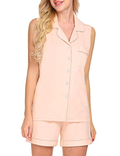 Classic Womens Pajama Set (Ekouaer Pajama Set Women's Sleepwear Soft Loungewear Sleeveless Top With Shorts, Misty Rose, Small)