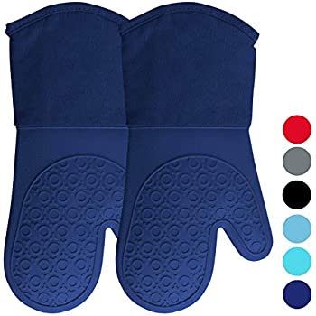 Homwe Silicone Oven Mitts with Quilted Cotton Lining - Professional Heat Resistant Pot Holders - Blue