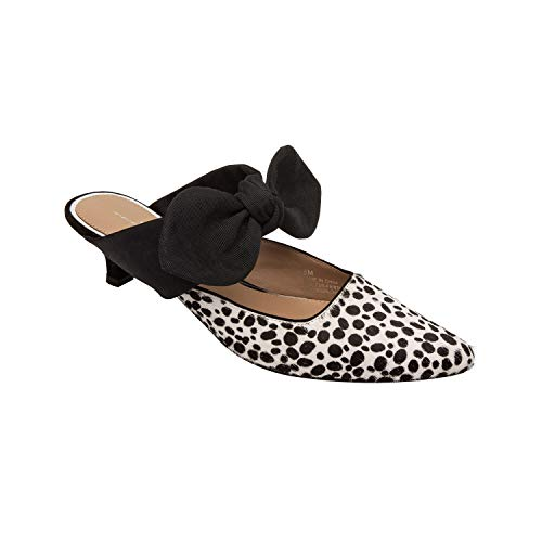 Linea Paolo Crissy - Bow Adorned Kitten Heel Mule White/Black Polkadot Hair Calf 8M (Black And White Polka Dot Shoes Heels)