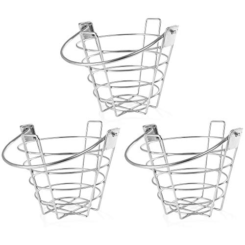 Crown Sporting Goods Golf Range Baskets - Small Metal Ball Carrying Buckets, Steel Wire Practice Container with Handle - Holds 50 Balls (3-Pack)
