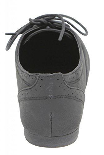 up 6 Rosy Low boat ANNA oxford shoes Black lace ballet loafer 4 women's Perforated PU Flat dressed RAqwBa8