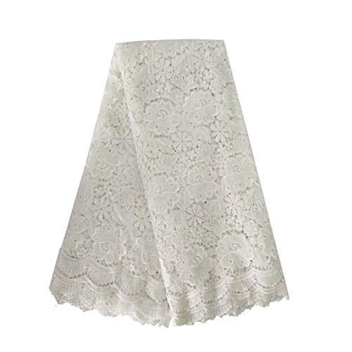 Lace Qin 5 yards African water soluble lace French embroidery lace bilateral wave pattern lace fabric (Off White)