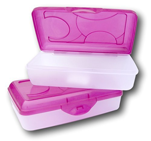 Sterilite Pink Transparent Pencil Case Box Set of 2 by STERILITE