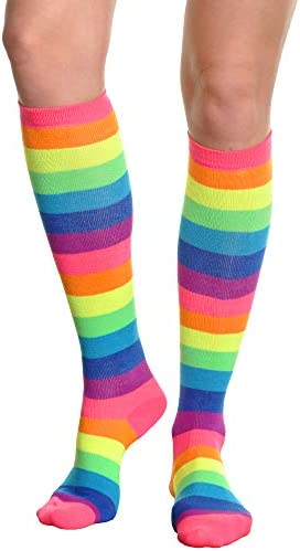 1 PAIR ANGELINA RAINBOW KNEE HIGH MULTI-COLORS SIZE 6-8  Style 2540