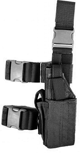 Specter Gear Universal Tactical Thigh Holster, Left Hand, Black Ballistic Nylon Thigh Holster