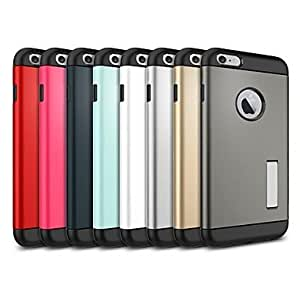 Slim Fit Dual Layer Protective Case with Kick-Stand Feature for iPhone 6 Plus (5.5)(Assorted Colors) , Blue