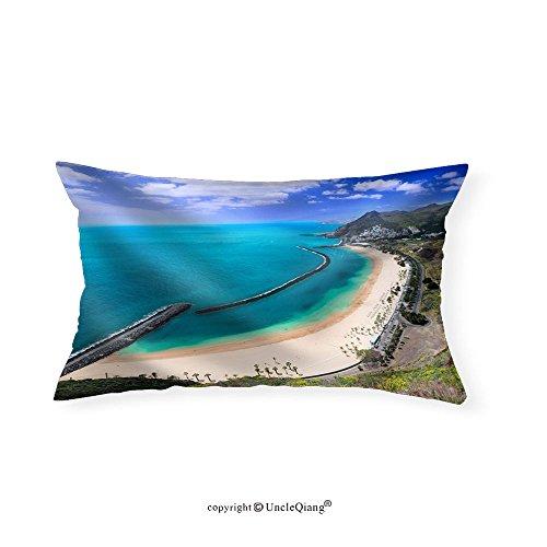 VROSELV Custom pillowcasesFamous Beach near Santa Cruz De Tenerife in the North of Tenerife Canary Islands Spain - Fabric Home Decor(16''x24'') by VROSELV