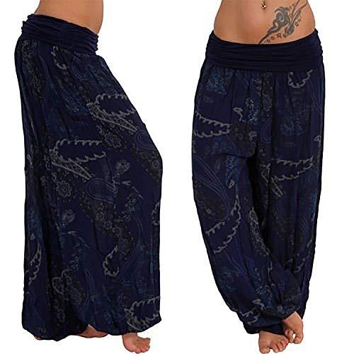 - 2019 New Casual Bohemia Print Pants Wide Leg Pants Loose Trousers Harem Pants Summer hot,Navy,S,China