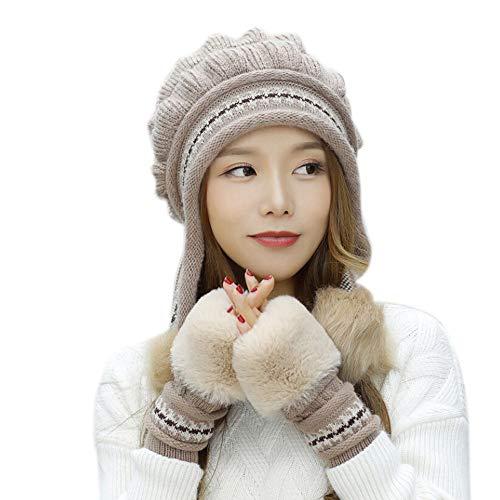 GREFER Women Winter Warm Knitted Beanie Hat+Gloves Keep Warm Set 2Pcs -