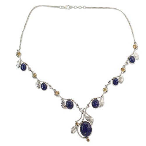 (NOVICA Lapis Lazuli and Citrine .925 Sterling Silver Y Necklace, 17.75